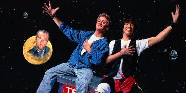 Excelente aventura de Bill e Ted Bill e Ted balançando em cima da cabine telefônica