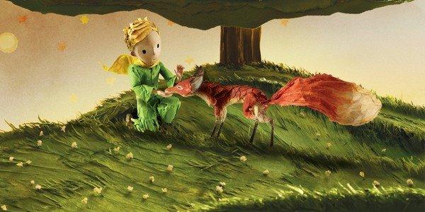 O pequeno príncipe e uma raposa em O pequeno príncipe