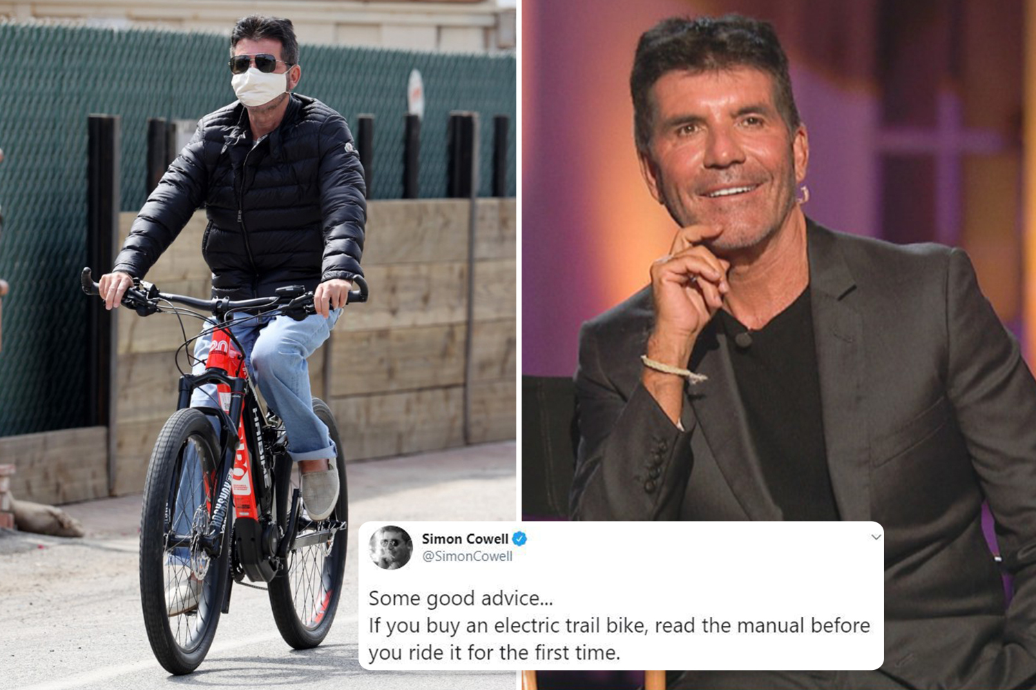 Simon Cowell admits he 'didn't read the manual' to electric bike ...