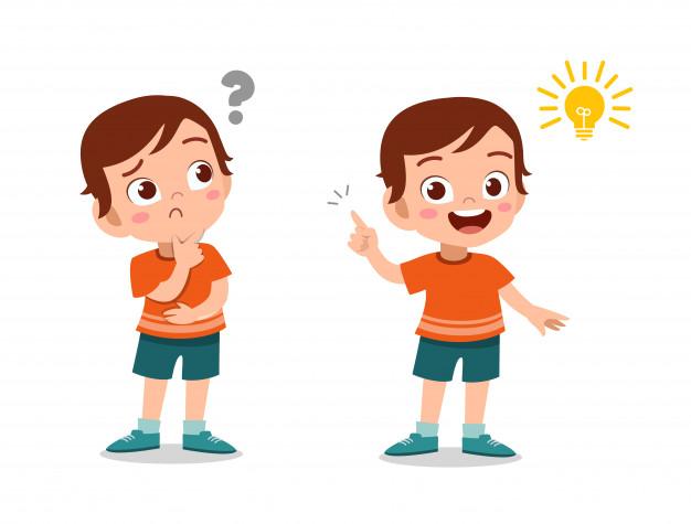 Cara de garoto garoto pensando | Vetor Premium
