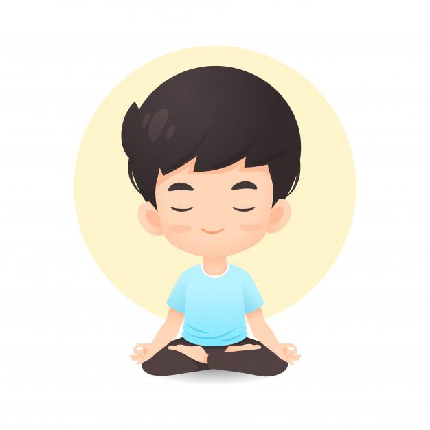 Desenho de menino bonito em pose de meditação | Vetor Premium