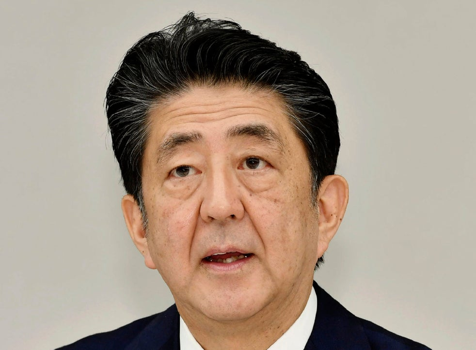 Japanese prime minister Shinzo Abe pictured on Friday during a coronavirus task force meeting at his official residence in Tokyo
