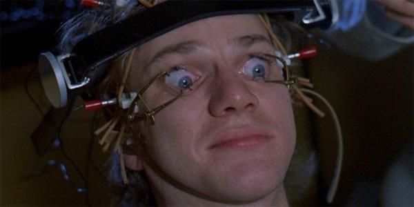 A Clockwork Orange Alex with eye clamps