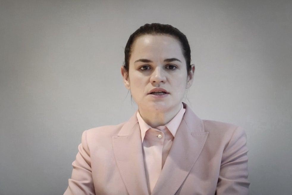 Svetlana Tikhanovskaya speaking via video message to the United Nations Human Rights Council