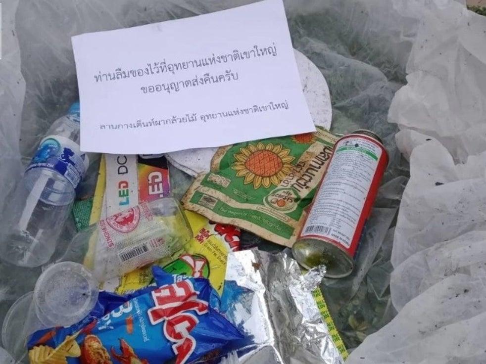 Lixo coletado no Parque Nacional Khao Yai, na Tailândia