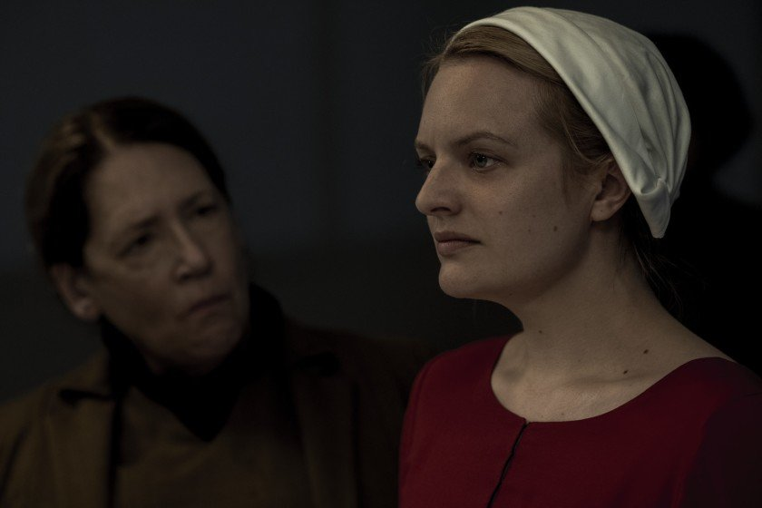 "Ann Dowd, left, and Elisabeth Moss in ""The Handmaid's Tale"" on Hulu."