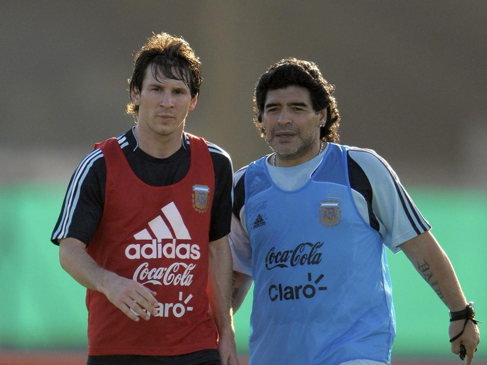 Maradona coached Messi with Argentina