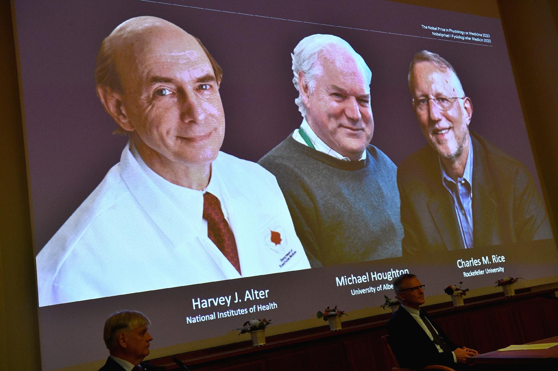 Prêmio Nobel de Medicina de 2020 premia Harvey J. Alter, Michael Houghton e  Charles M. Rice por descoberta do vírus da hepatite C