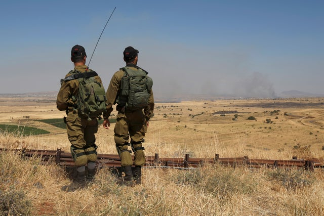 <p>Israeli soldiers patrol near the border with Syria&nbsp;</p>