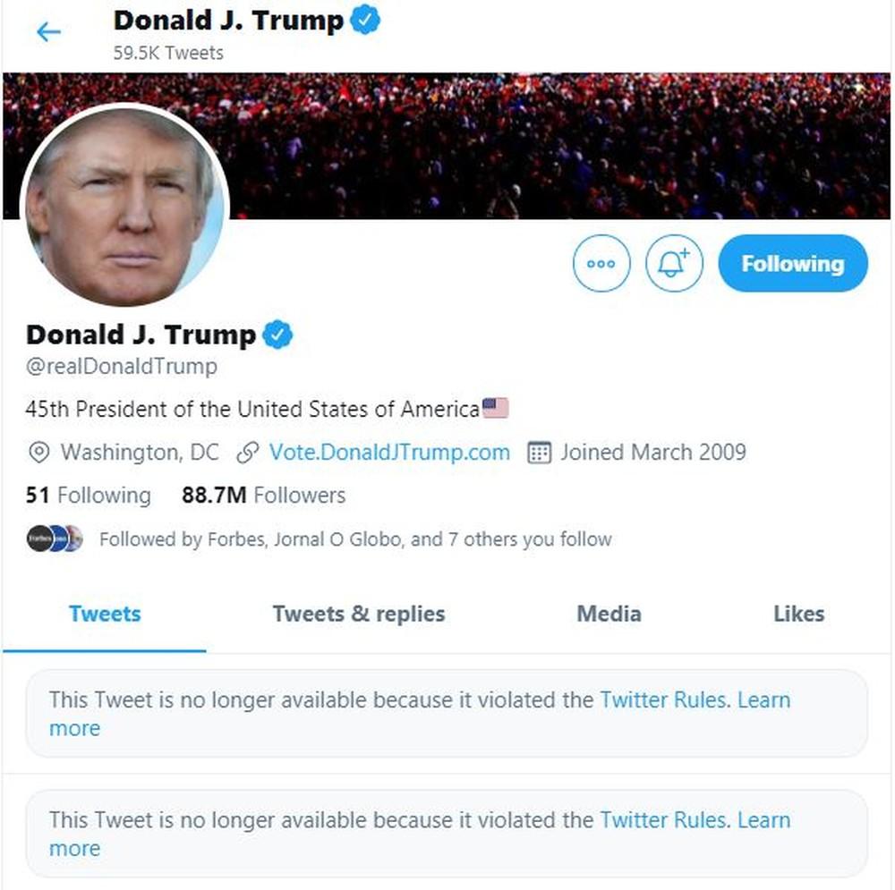 Donald Trump e seus problemas com as plataformas online.
